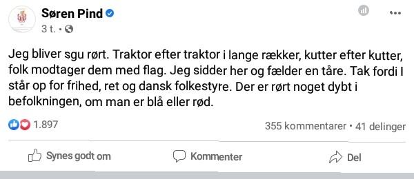 Facebook-opdatering fra Søren Pind lørdag d. 21/11 2020- Afspejler den ikke hvid overlegenhed?